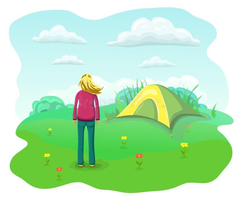 放松的妇女本质上 夏天野营的平的风景 有飞行头发的轻松和愉快的女孩在旅游帐篷附近 皇族释放例证