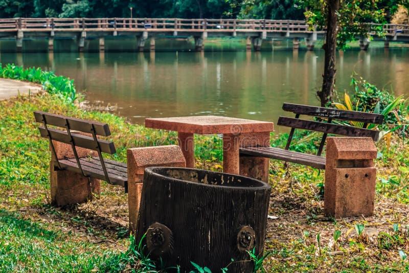 放松的安装在绿色树中的一个公园里在河附近 库存照片