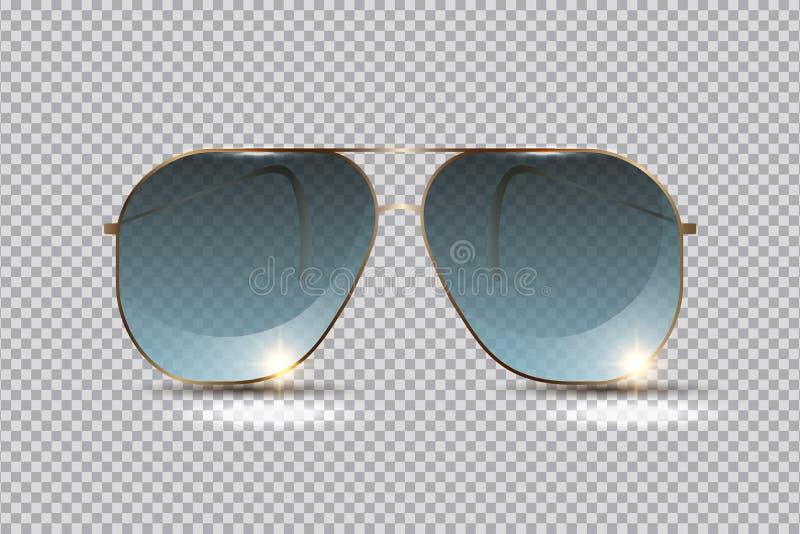 放松的时兴的太阳镜在海滩在夏天,隔绝在透明背景,设计的布局元素 ?? 皇族释放例证