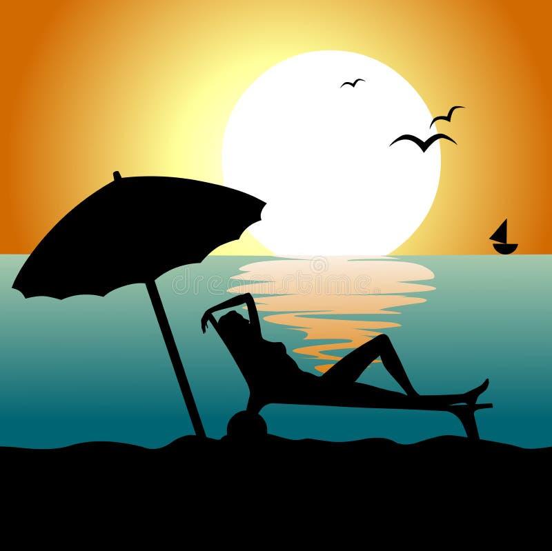 放松的海滩 向量例证