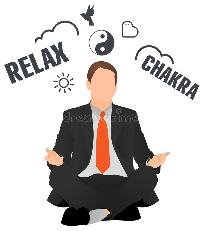 放松被隔绝的传染媒介的商人思考和 坐在莲花姿势的平安的工作者 人做选择 做瑜伽a的经理 皇族释放例证