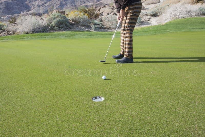 放球的资深男性高尔夫球运动员的低部分入孔在高尔夫球场 库存照片