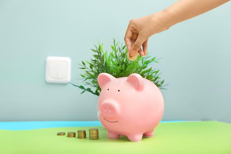 放硬币的妇女入存钱罐在开关墙壁附近 电挽救概念 免版税库存图片