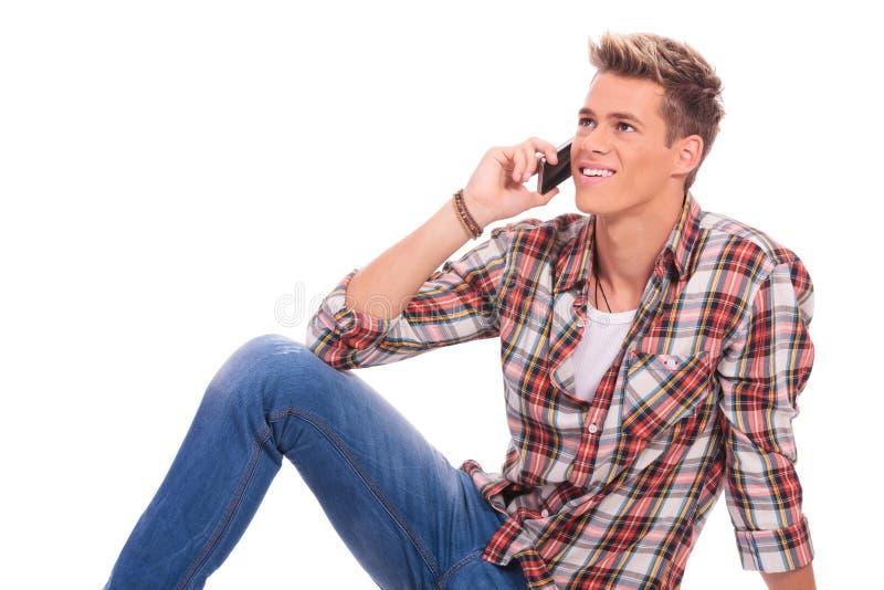 放置和说在电话里 免版税库存照片