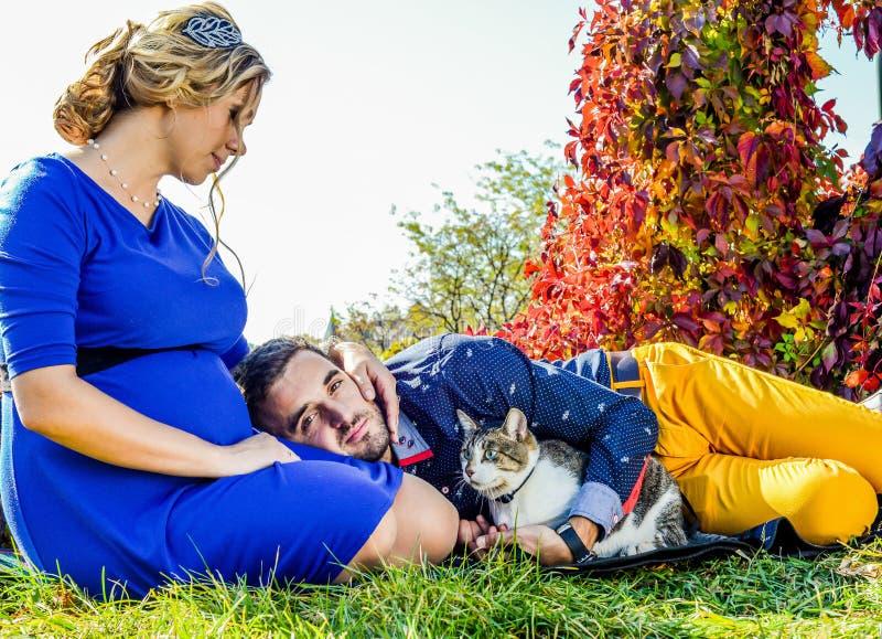 放置在有猫的公园的怀孕的夫妇 免版税库存照片