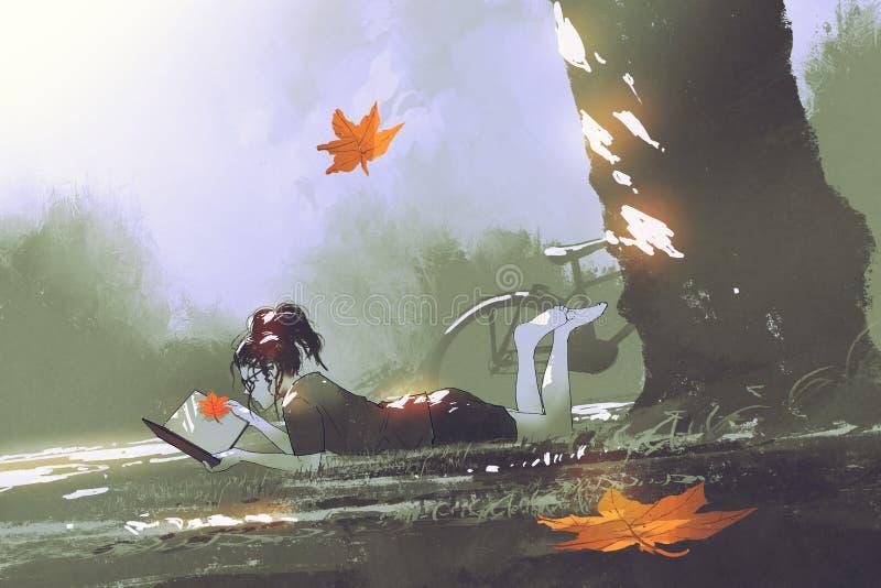 放置在草的女孩读一本书在公园 皇族释放例证