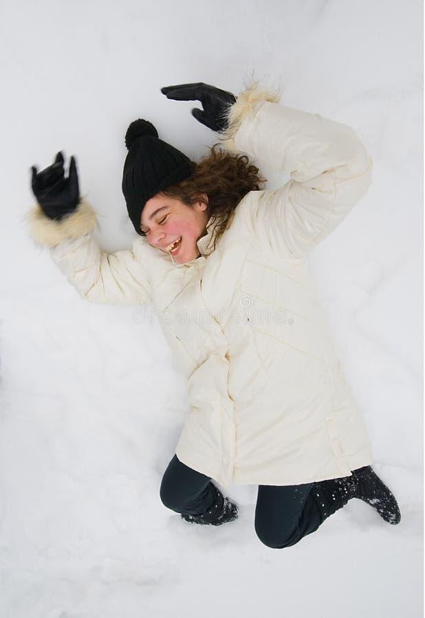 放置在雪的女孩 免版税库存照片