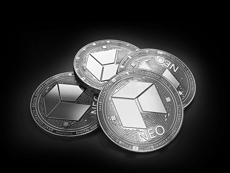 放置在黑背景的堆四枚银色新硬币 向量例证