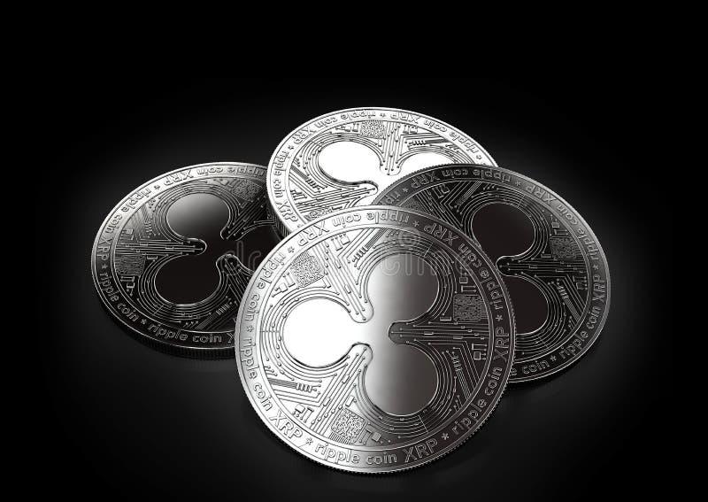 放置在黑背景的堆四枚银色波纹硬币 向量例证