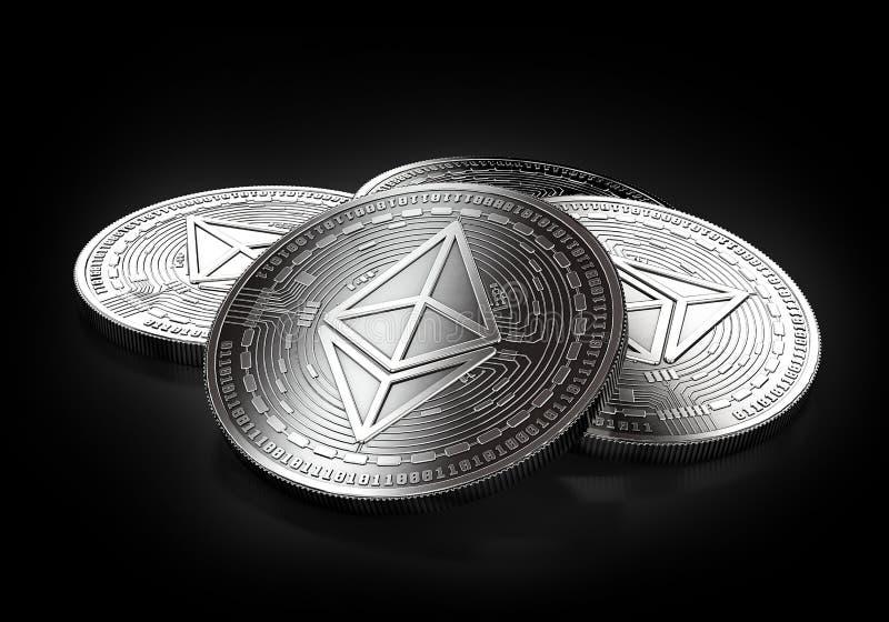 放置在黑背景的堆四枚银色Ethereum硬币 皇族释放例证
