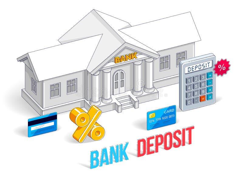 放置概念,与在白色隔绝的计算器的银行大楼 皇族释放例证