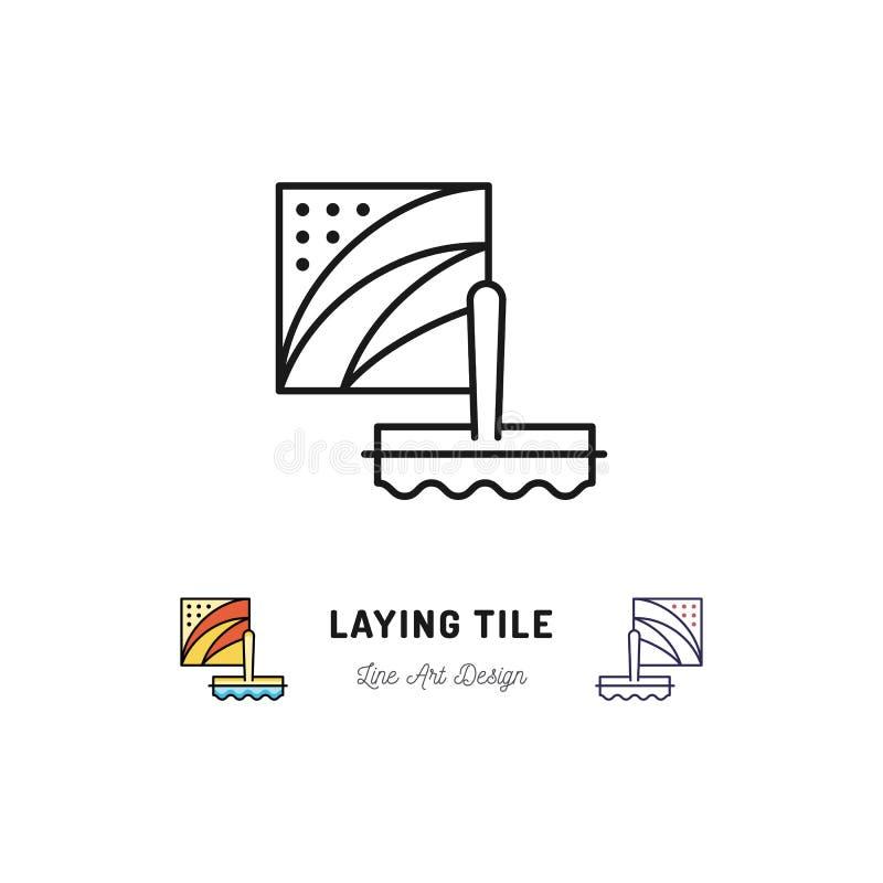 放置瓦片象,修理卫生间标志 小铲和陶瓷砖 传染媒介稀薄的线艺术标志 皇族释放例证