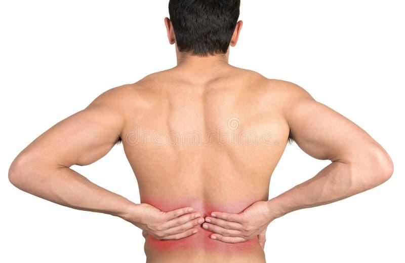 放置男性人肌肉脖子痛部分地严重肩膀疼痛的酸疼的回到河床成为不饱和的体验的图象伤害拉紧了 免版税库存图片