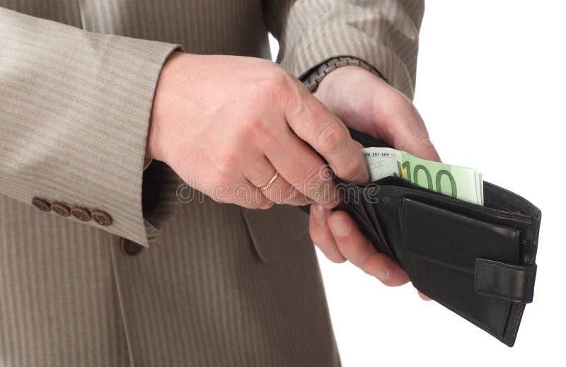 放置钱包的钞票欧洲现有量 库存图片