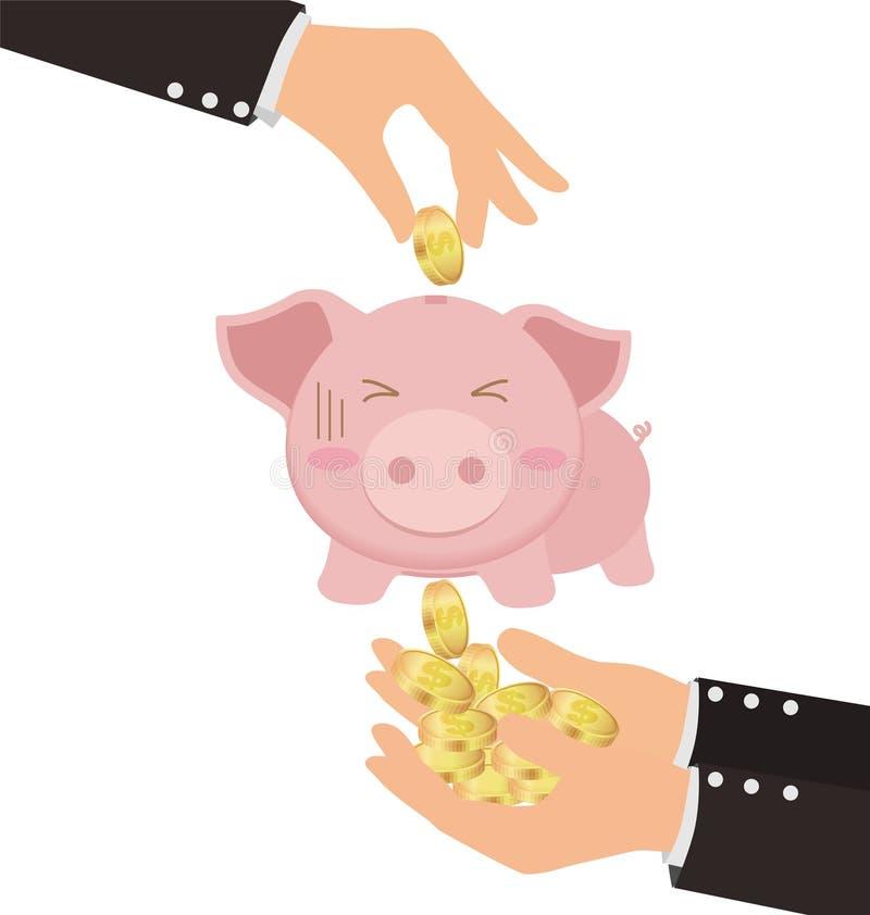 放金币的企业手入逗人喜爱的存钱罐,但是得到窃取 向量例证