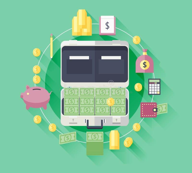 财政和企业项目例证平的象  库存例证