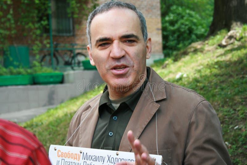 政客世界棋冠军抗议的加里・基莫维奇・卡斯帕罗夫支持霍多尔科夫斯基 图库摄影