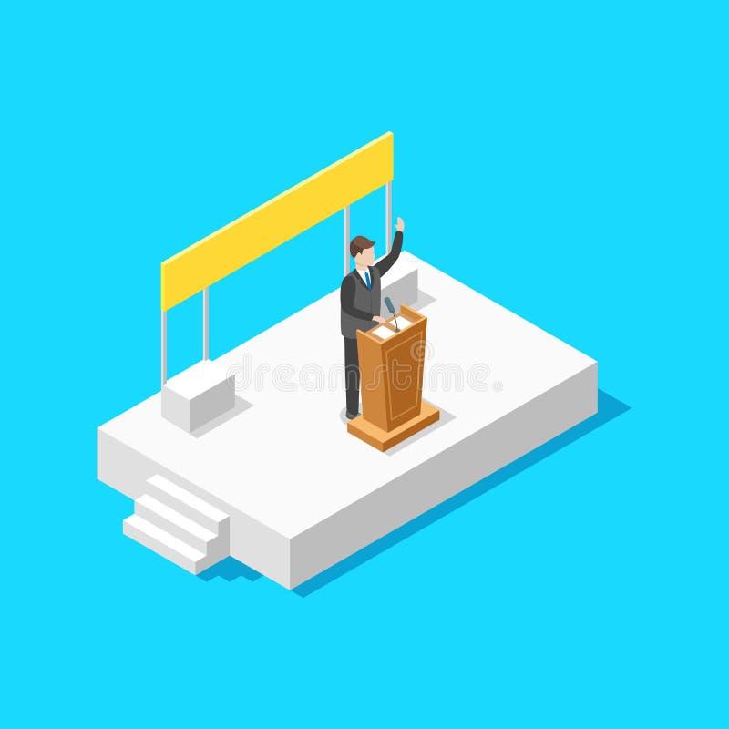 政客企业概念3d等轴测图 向量 皇族释放例证