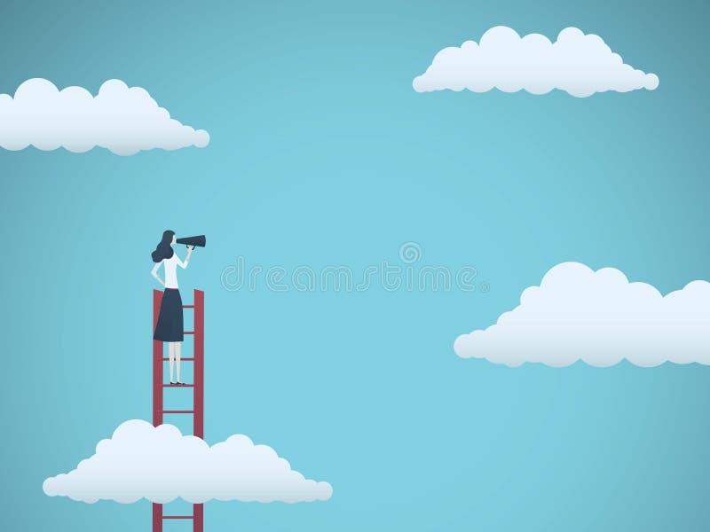 政府发言人或商业领袖传染媒介概念 女实业家讲话通过在梯子的扩音机 标志  向量例证