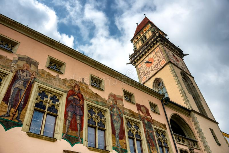 政府大厦塔在帕绍,巴伐利亚 免版税库存照片
