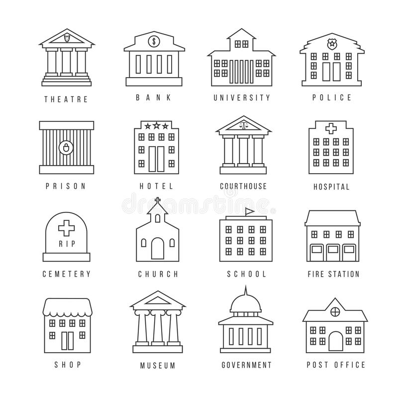 政府大厦被排行的标志 消防站和法院大楼,图书馆城市银行概述象 库存例证