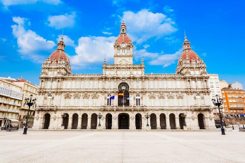政府大厦,Plaza de玛丽亚Pita,拉科鲁尼亚 图库摄影