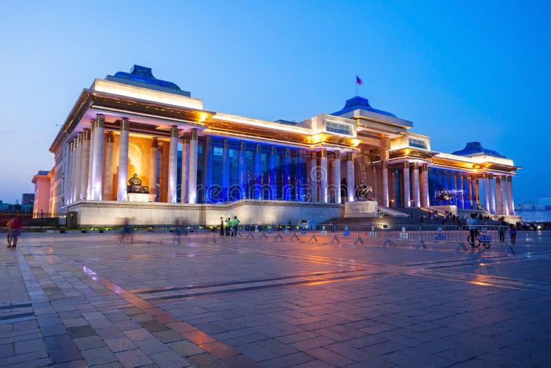 政府宫殿在Ulaanbaatar 免版税库存照片