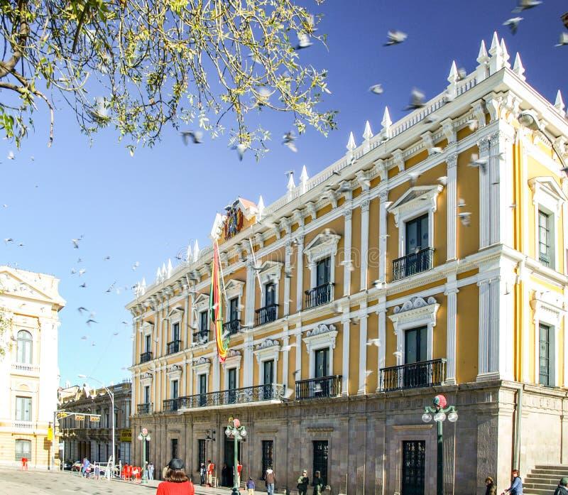 政府玻利维亚的宫殿,帕拉西奥Quemado,拉巴斯,玻利维亚 库存图片