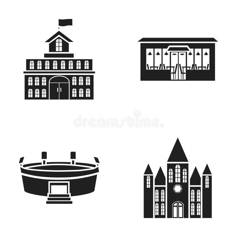 政府议院,体育场,咖啡馆,教会 在黑样式的修造的集合汇集象导航标志储蓄例证 向量例证