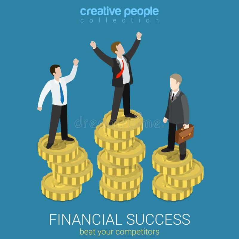 财政成功金钱平的3d传染媒介等量企业优胜者 皇族释放例证