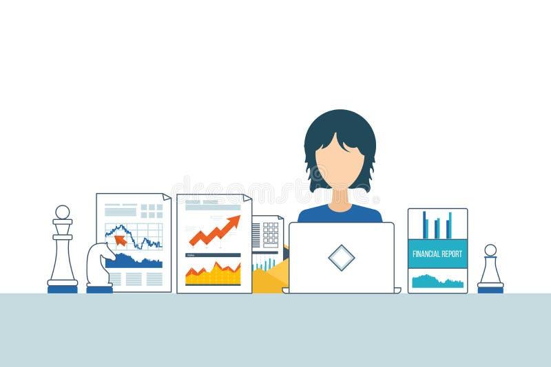 财政报告,咨询,配合、项目管理和发展 投资事务 皇族释放例证