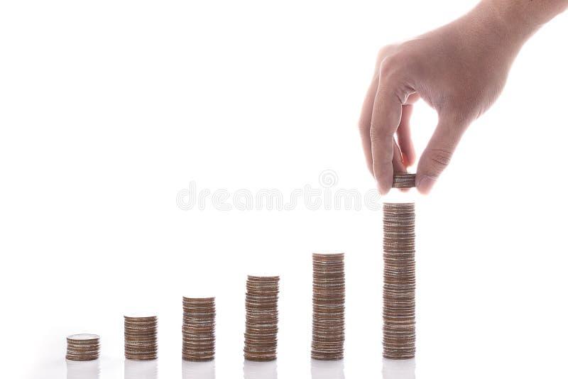 财政概念金钱硬币图表 库存照片