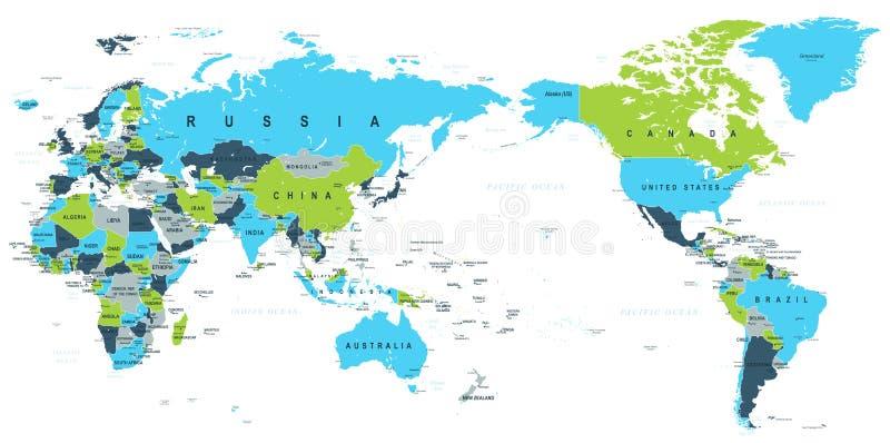 政治世界地图太平洋集中了 向量例证