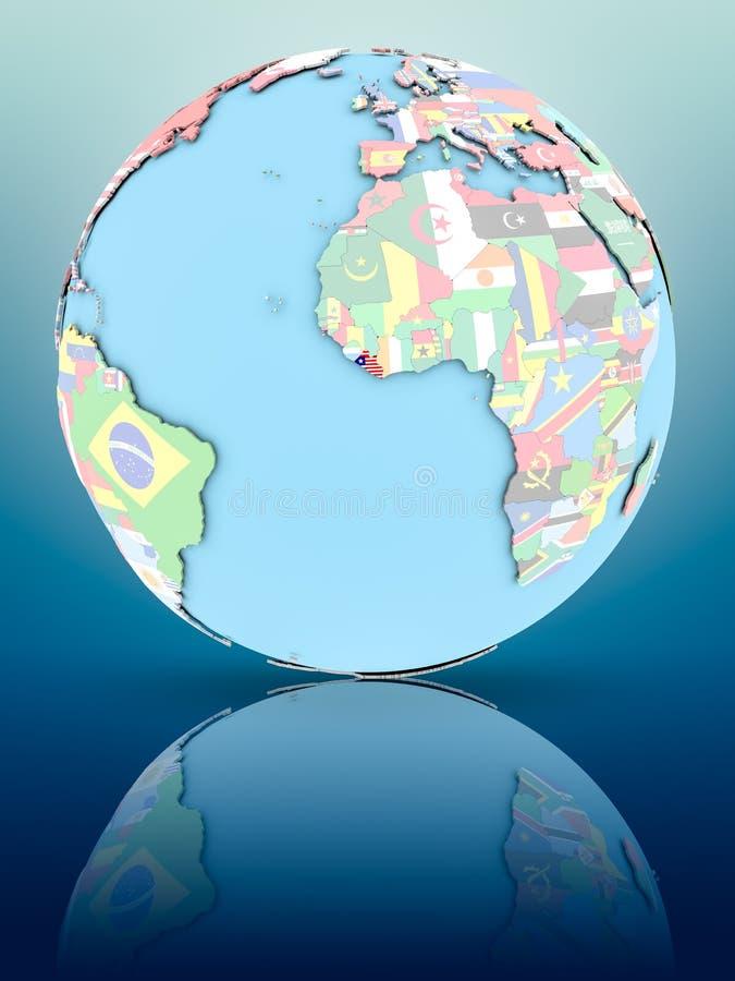 政治地球的利比里亚与旗子 库存例证