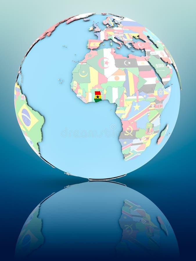 政治地球的加纳与旗子 向量例证