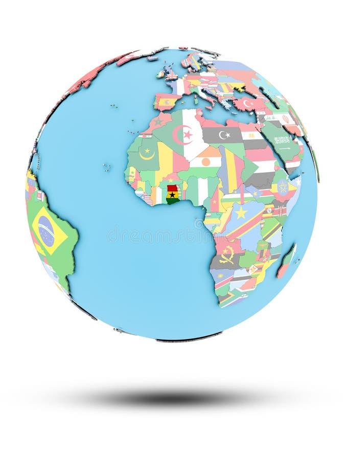 政治地球的加纳与旗子 库存例证