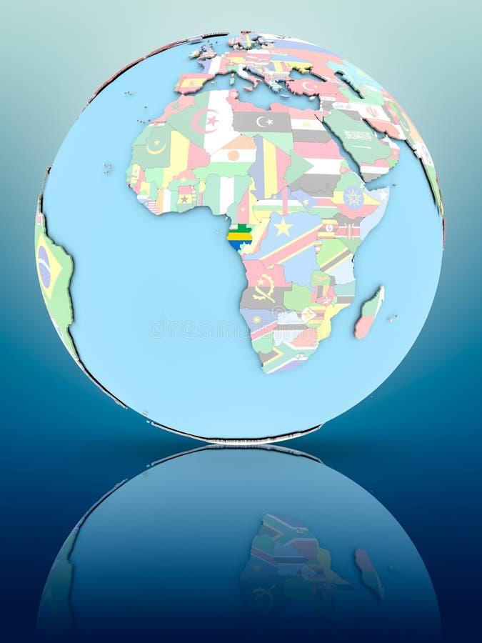 政治地球的加蓬与旗子 皇族释放例证