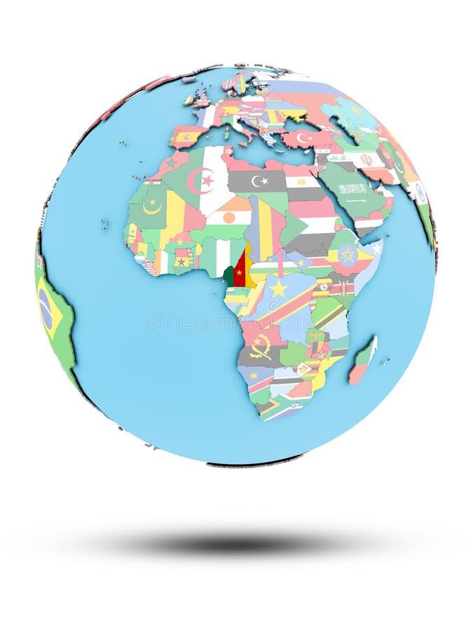 政治地球的喀麦隆与旗子 向量例证