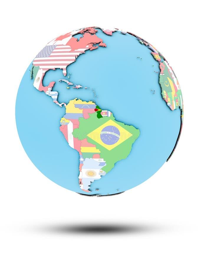 政治地球的圭亚那与旗子 皇族释放例证