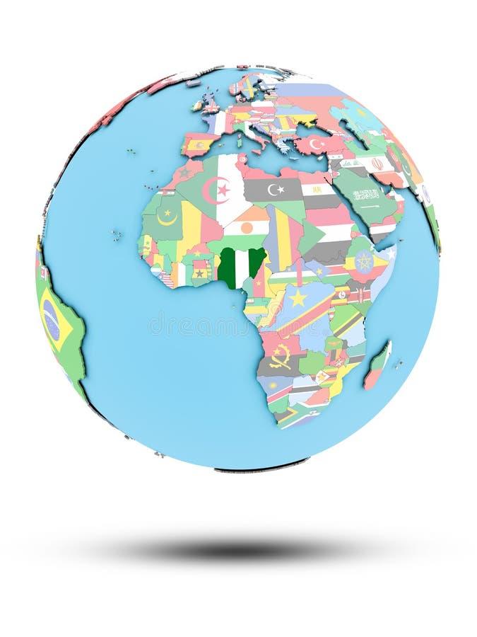 政治地球的尼日利亚与旗子 皇族释放例证