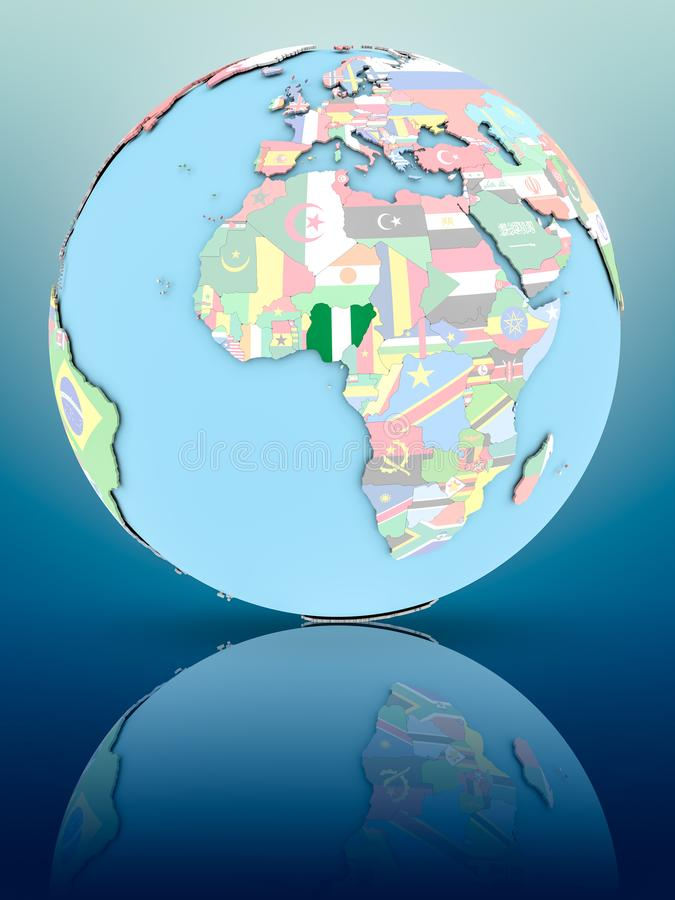 政治地球的尼日利亚与旗子 库存例证