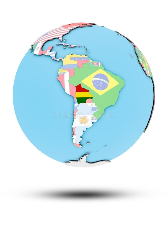 政治地球的玻利维亚与旗子 向量例证