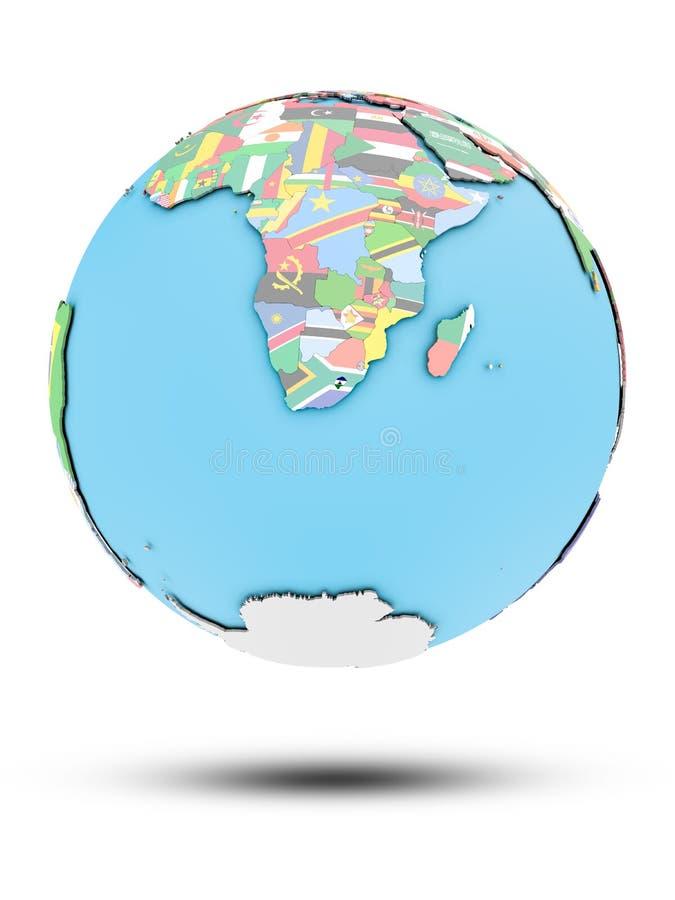 政治地球的莱索托与旗子 皇族释放例证