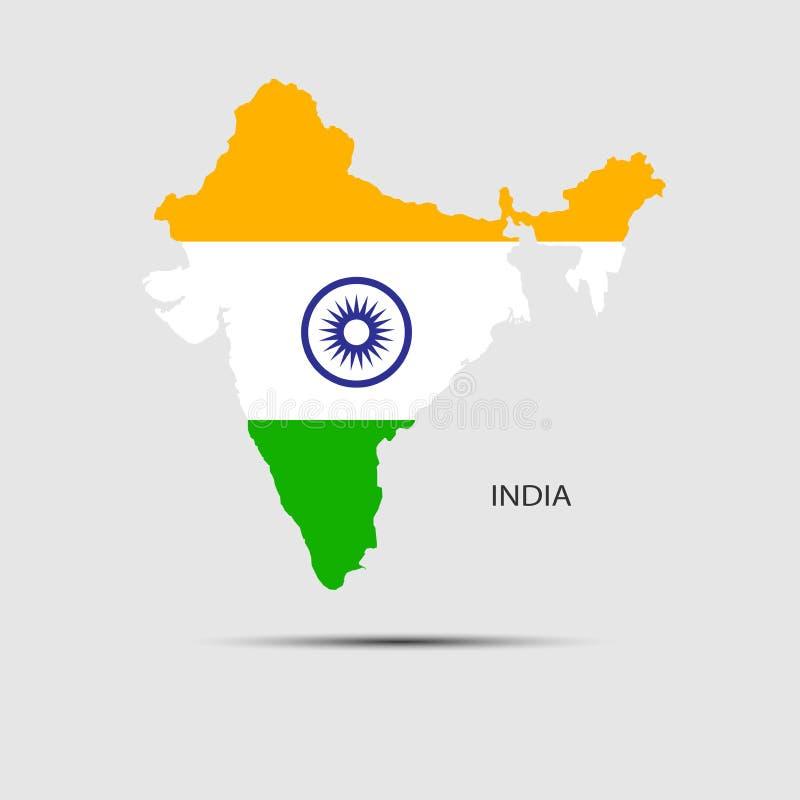 政治大陆印度的映射 向量例证