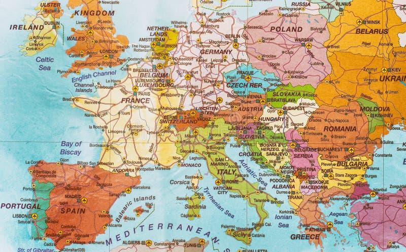 政治大陆欧洲的映射 免版税库存图片