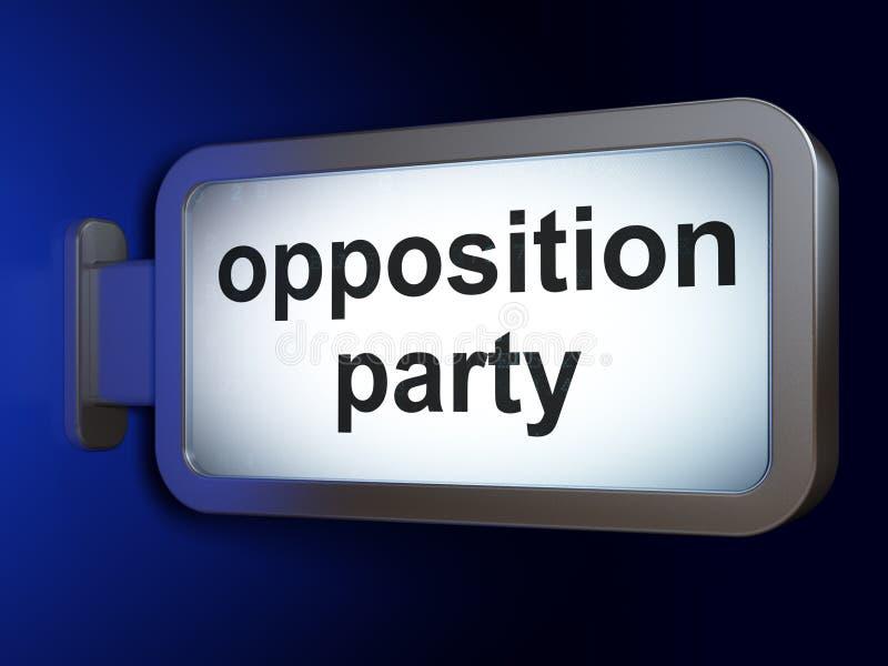 政治概念:在广告牌背景的反对党 皇族释放例证