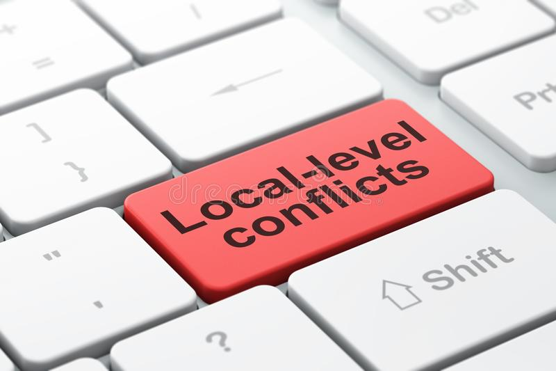 政治概念:地方水平在键盘背景相冲突 向量例证