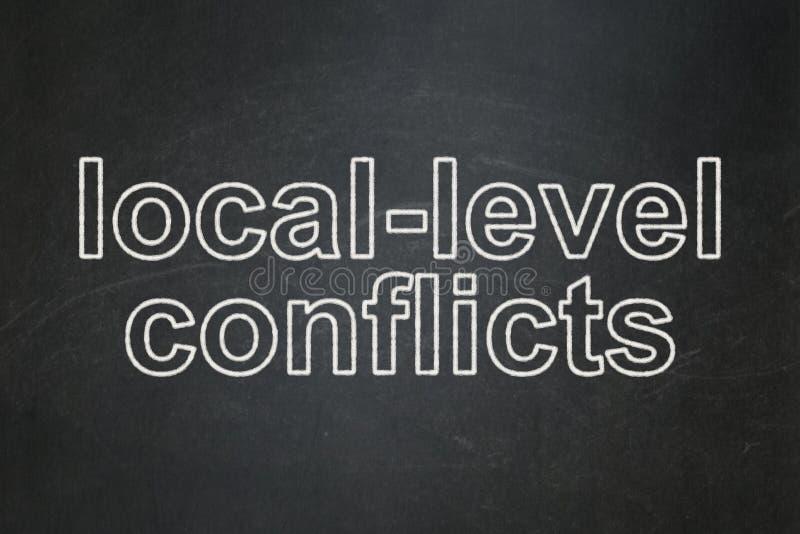 政治概念:地方水平在黑板背景相冲突 库存例证