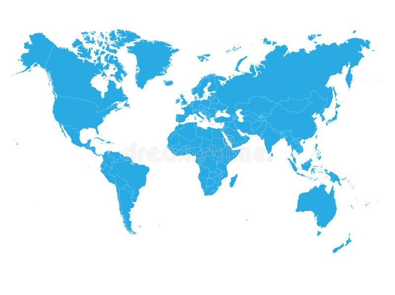 在白色背景的蓝色世界地图 政治高细节的空白 r 皇族释放例证