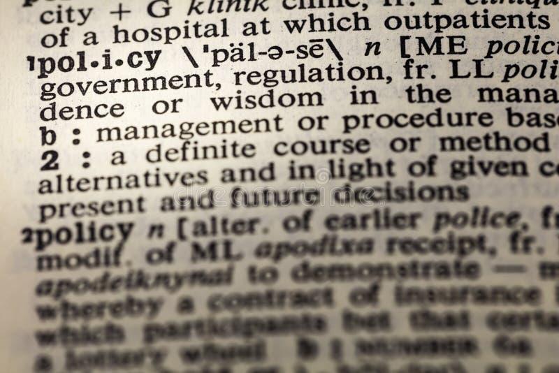 政策章程管理字典 免版税库存照片